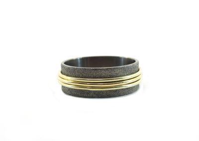 ring-zwart rhodium-man-sandfinish