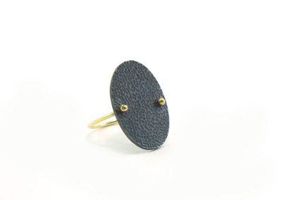 geoxideerd, gehamerd ovaal van zilver op een ring van goud