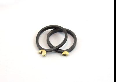 ring zilver -geoxideerd-hart-14k goud € 87,50