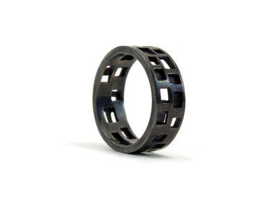 open ring-zilver-zwart rhodium-